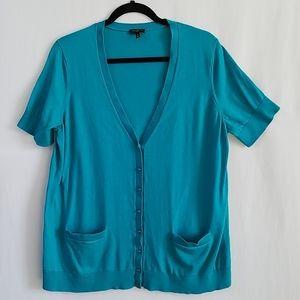 Talbots Woman Short Sleeve Cardigan Sweater 1X